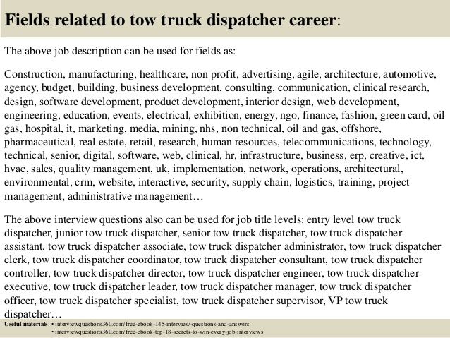 top tow truck dispatcher interview questions and answers resume ministry automotive Resume Tow Truck Dispatcher Resume