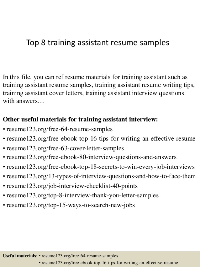 top training assistant resume samples cover letter for out of state job scrum master Resume Training Assistant Resume Cover Letter