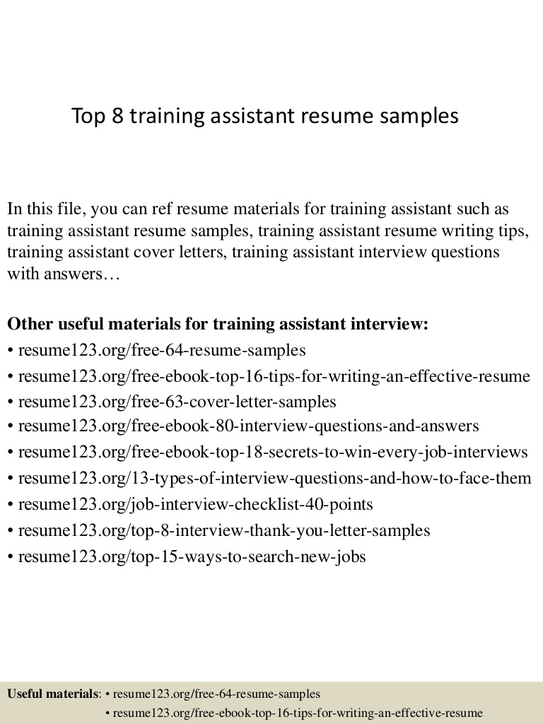 top training assistant resume samples cover letter top8trainingassistantresumesamples Resume Training Assistant Resume Cover Letter