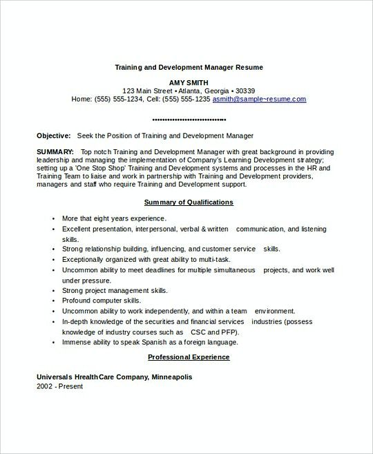 training and development manager resume template professional applying for job without Resume Learning And Development Resume