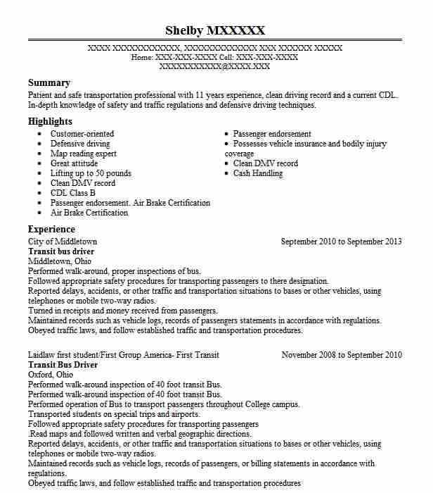 transit bus driver resume example resumes livecareer for position biology school Resume Resume For Bus Driver Position