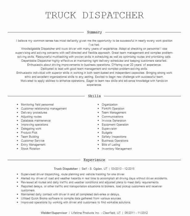 truck dispatcher resume example wideco transportation examples financial services Resume Dispatcher Resume Examples