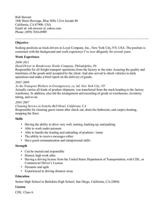 truck driving resume template free templates examples objective housekeeping duties and Resume Trucking Resume Objective