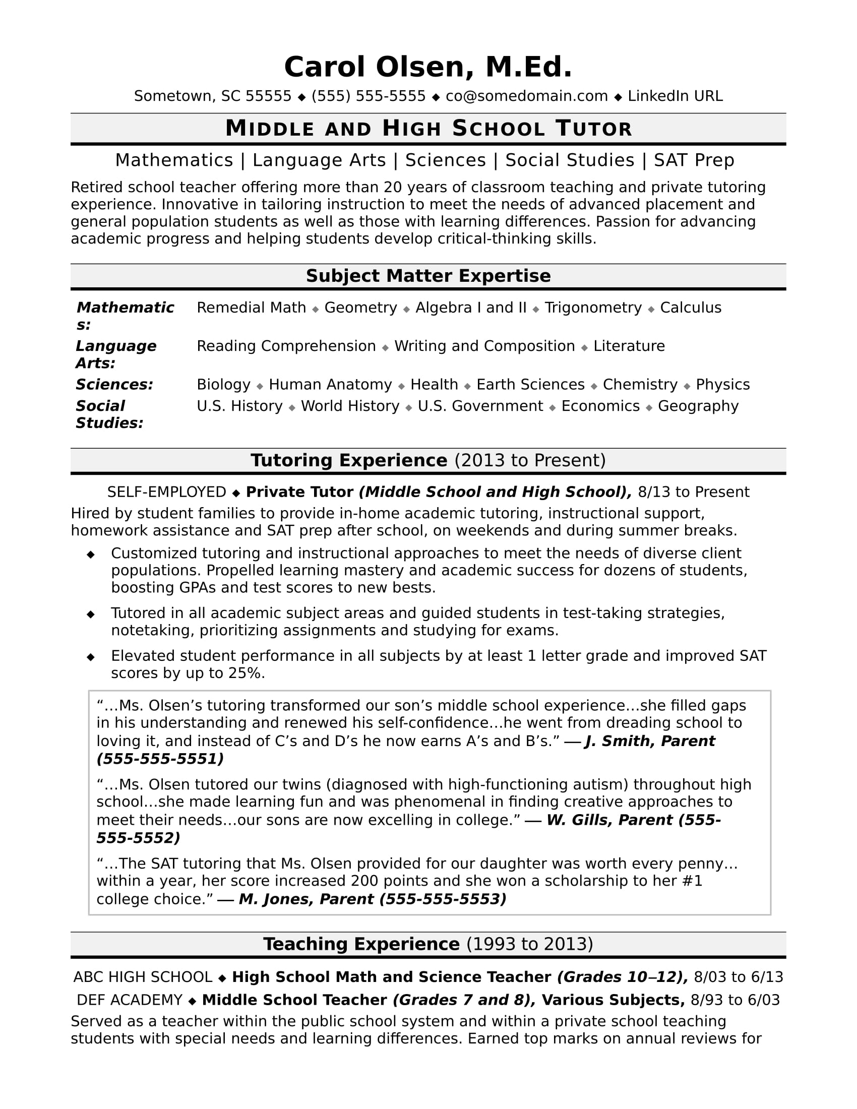 tutor resume sample monster middle school electronic account receivable and payable Resume Sample Middle School Resume
