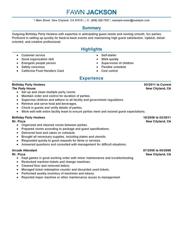 unforgettable birthday party host resume examples to stand out myperfectresume hostess Resume Hostess Resume Examples