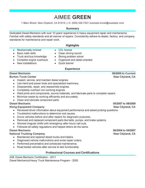 unforgettable diesel mechanic resume examples to stand out myperfectresume summary for Resume Resume Summary Examples For Mechanic