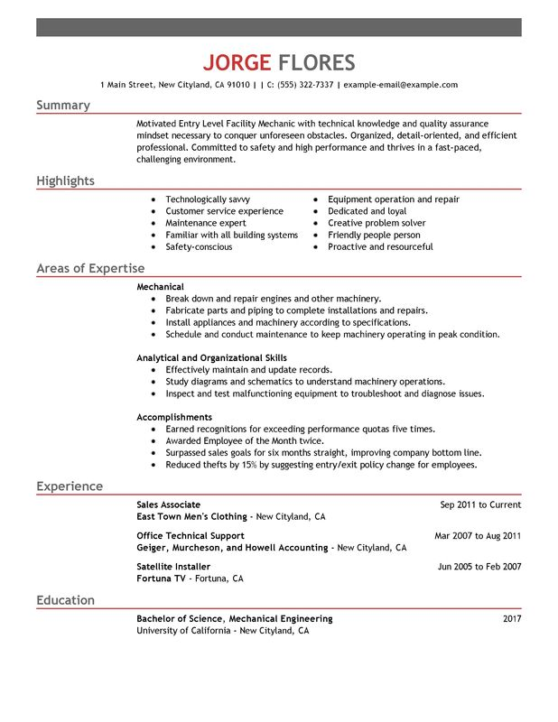 unforgettable entry level mechanic resume examples to stand out myperfectresume summary Resume Resume Summary Examples For Mechanic