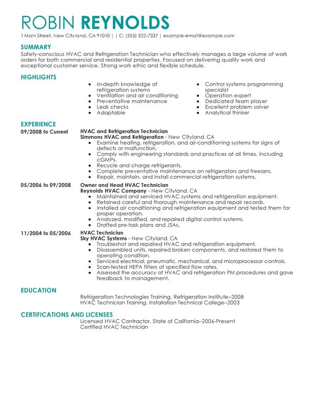 unforgettable hvac and refrigeration resume examples to stand out myperfectresume job Resume Hvac Job Description Resume