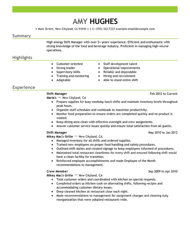 unforgettable shift manager resume examples to stand out myperfectresume restaurant Resume Restaurant Supervisor Resume
