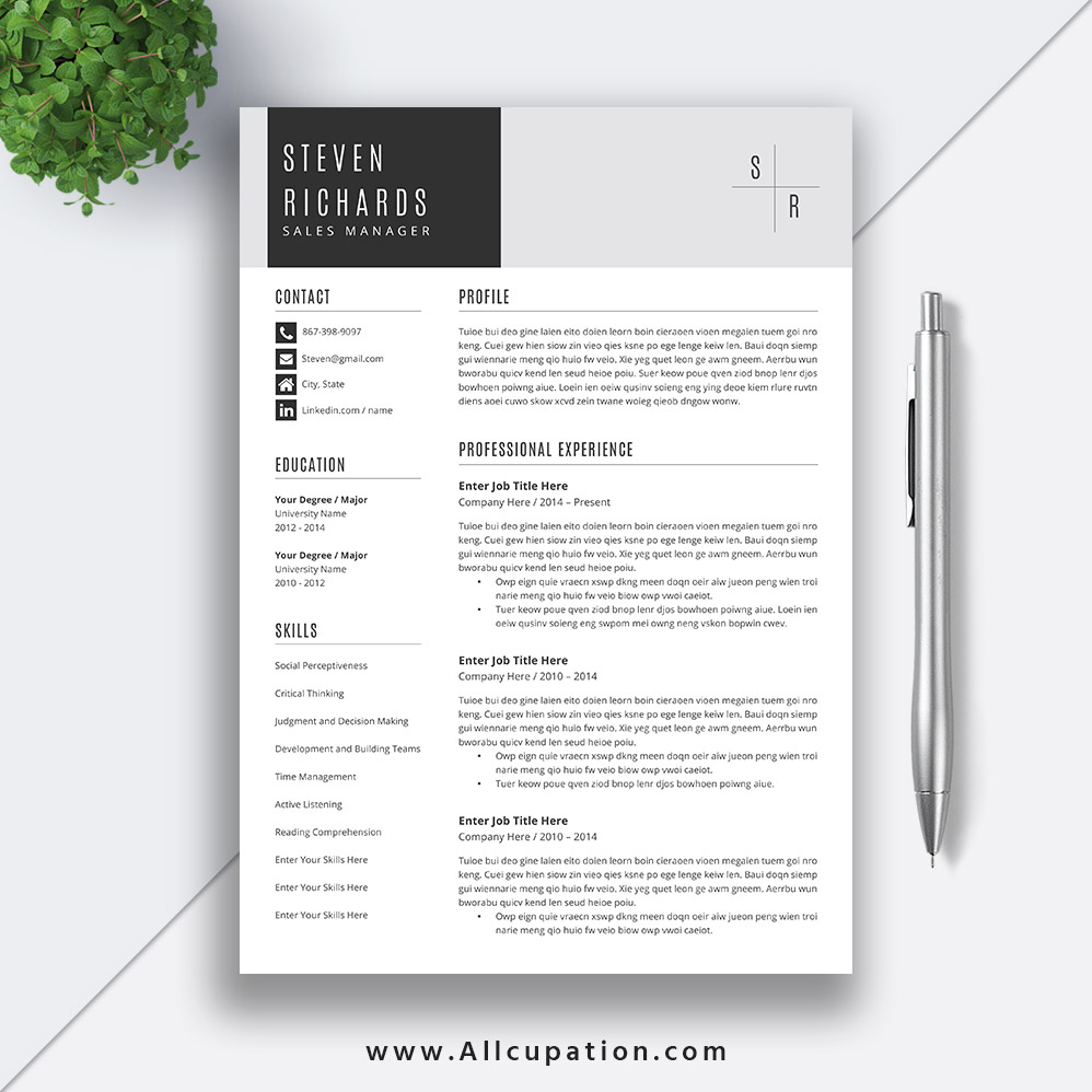 unique resume template word curriculum vitae cover letter modern simple teacher instant Resume Resume Templates For Word 2021