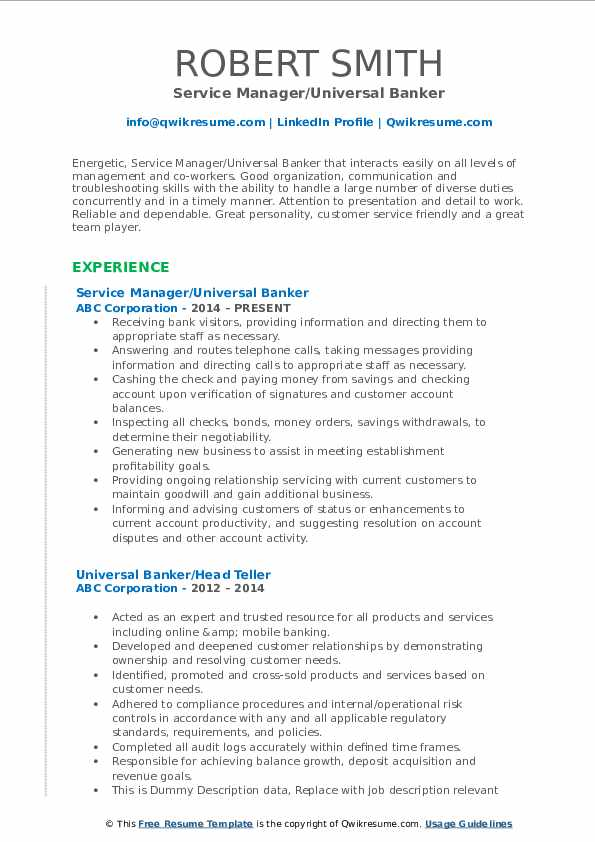universal banker resume samples qwikresume job description for pdf professional writers Resume Universal Banker Job Description For Resume