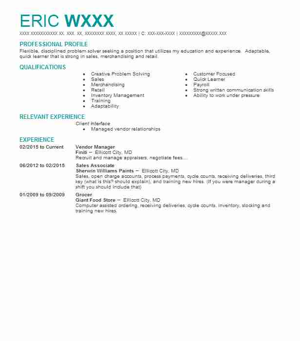 vendor manager resume example resumes livecareer management summary general professional Resume Vendor Management Resume Summary