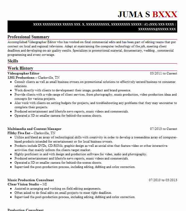 videographer editor resume example resumes livecareer examples front desk customer Resume Videographer Resume Examples