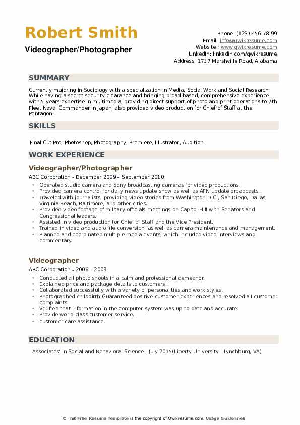 videographer resume samples qwikresume examples pdf patient care associate signal Resume Videographer Resume Examples