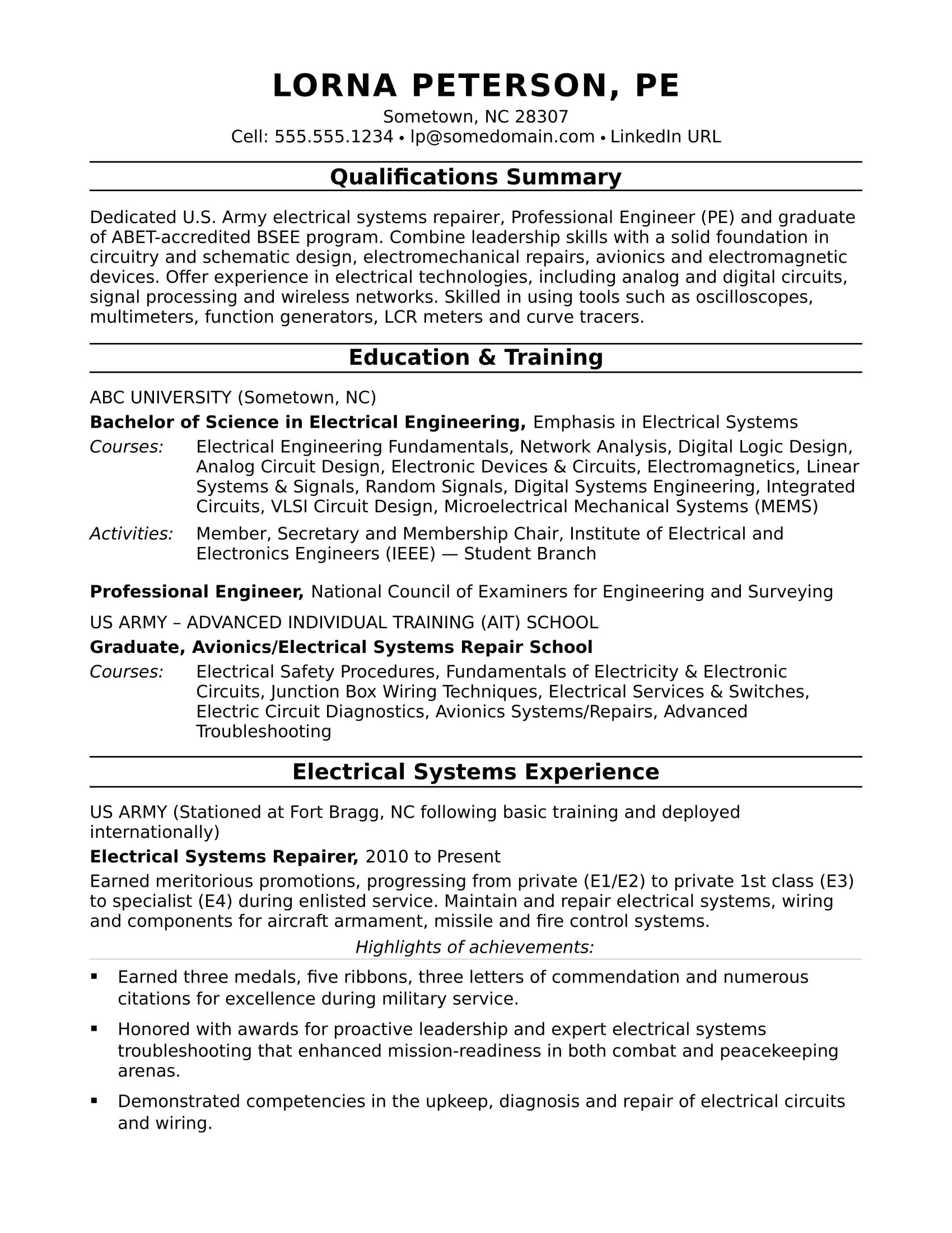 view this electrical engineer resume sample to see you can communicate your engineering Resume Technical Skills For Electrical Engineer Resume
