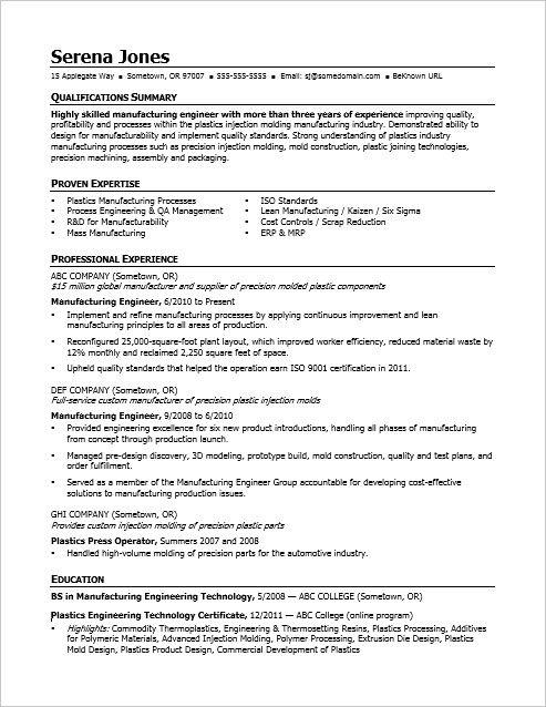 view this sample resume for midlevel manufacturing engineer to see you can improve your Resume Injection Moulding Resume