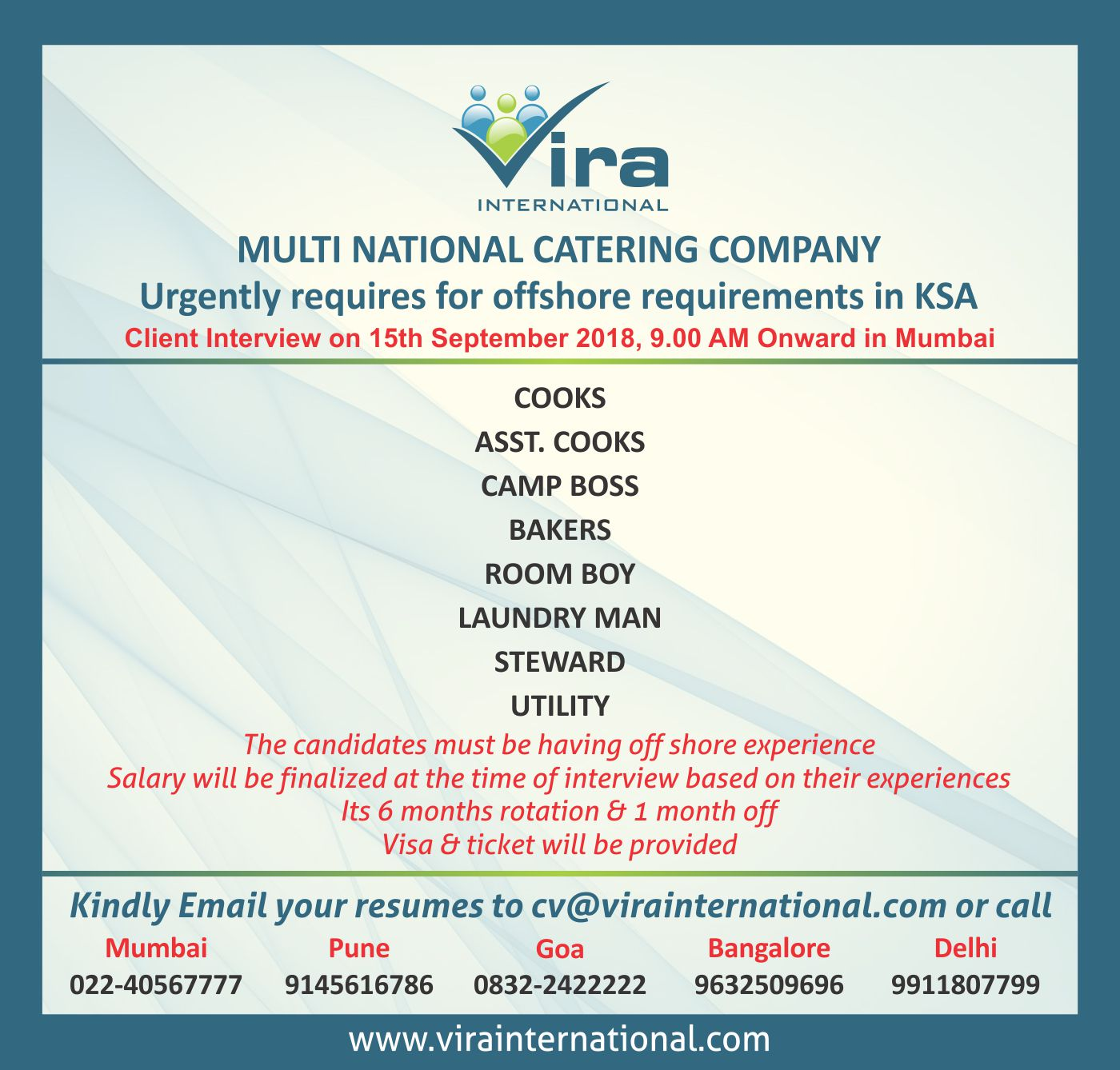 vira international on urgently requires for multi national catering company offshore Resume Catering Camp Boss Resume