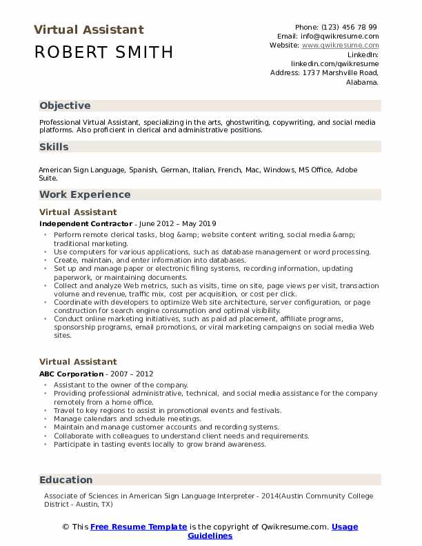 virtual assistant resume samples qwikresume words for collaborate pdf beginner cashier Resume Resume Words For Collaborate