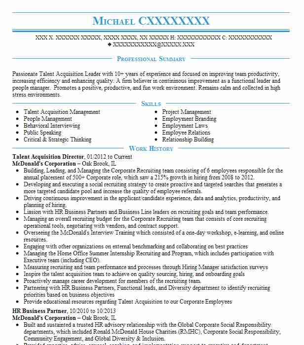 vp talent acquisition director resume example rowe towson of graphic designer design Resume Director Of Talent Acquisition Resume