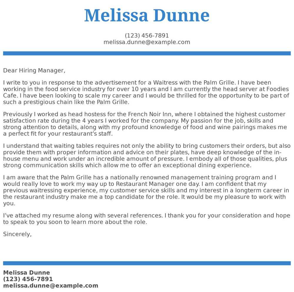 waitress cover letter examples samples templates resume received response parser ats cpc Resume Resume Received Response Letter