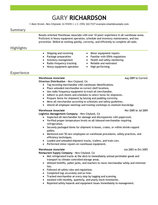 warehouse associate resume examples created by pros myperfectresume for maintenance and Resume Resume Examples For Warehouse Associate