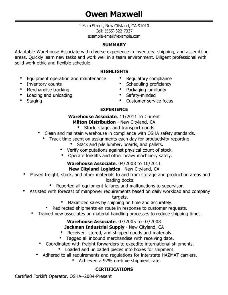 warehouse resume objective samples for worker executive summary template sample examples Resume Warehouse Resume Summary