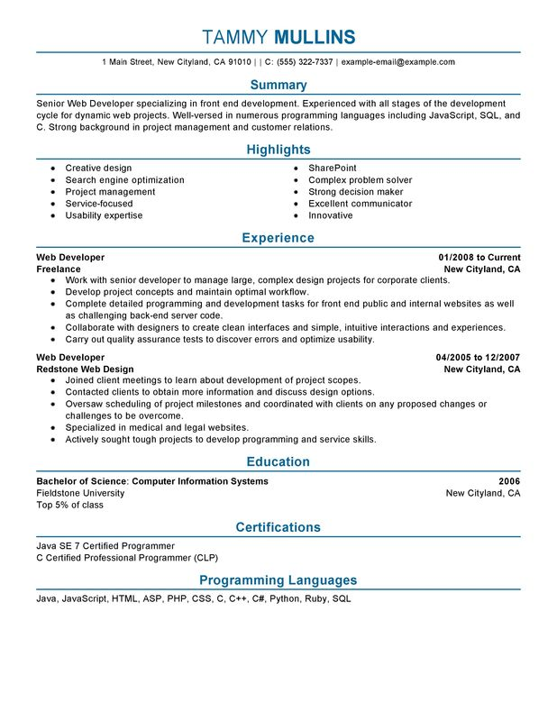 web developer resume examples created by pros myperfectresume objective for computers and Resume Objective For Resume For Developer
