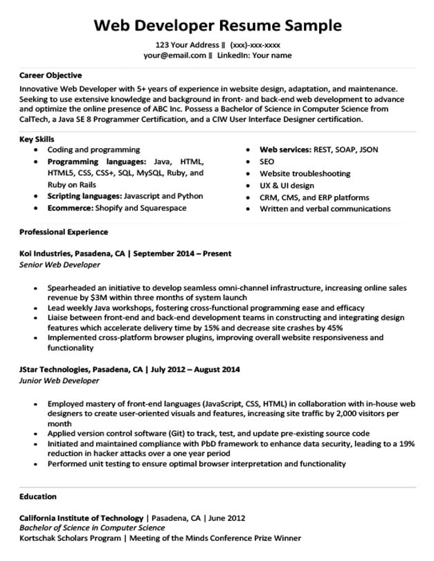 web developer software resume sample objective for by samples manager examples template Resume Objective For Resume For Developer