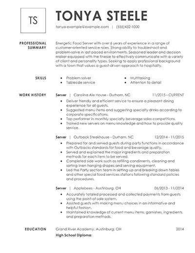 with food server resume samples format experience market research executive volunteer Resume Food Server Experience Resume