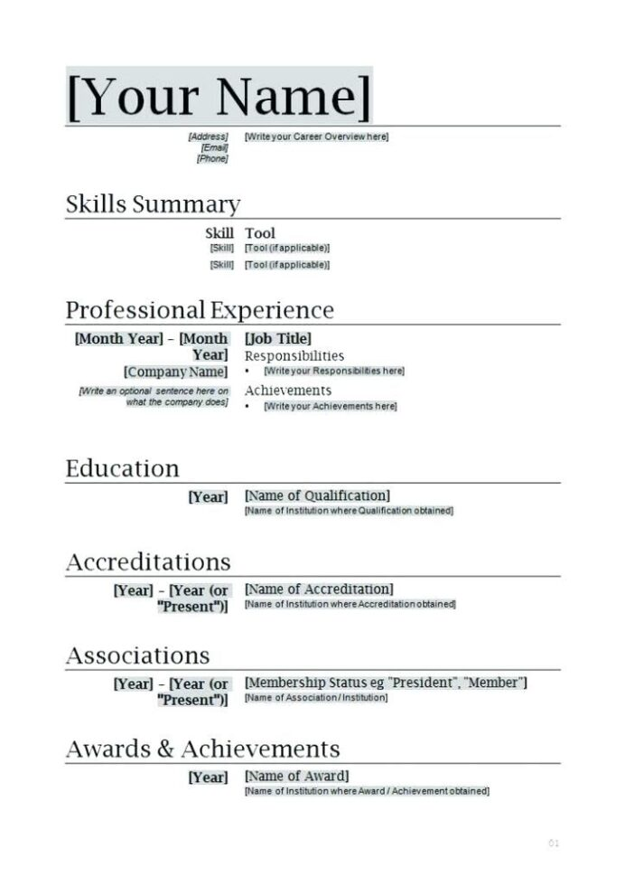 word document resume template colesthecolossusco prin in downloadable sample templates Resume Easy Resume Template Word