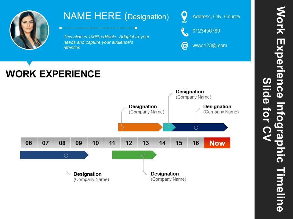 work experience infographic timeline slide for cv good example powerpoint presentation Resume Infographic Resume Timeline