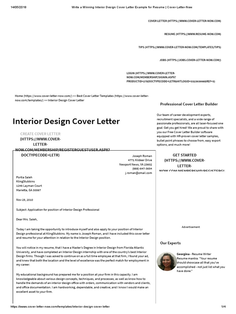 write winning interior design cover letter example for resume now world wide web internet Resume Interior Design Resume Cover Letter