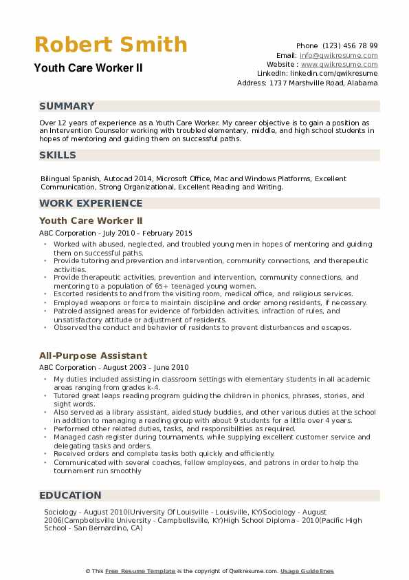 youth care worker resume samples qwikresume experience working with pdf automobile format Resume Experience Working With Youth Resume