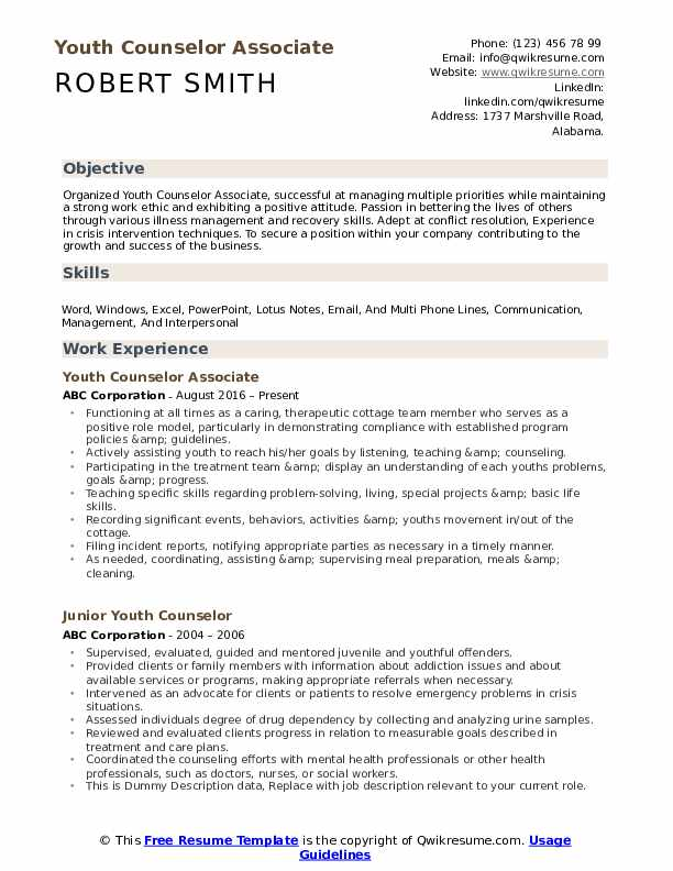 youth counselor resume samples qwikresume teenage objective examples pdf high school Resume Teenage Resume Objective Examples