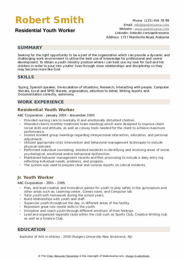 youth worker resume samples qwikresume experience working with pdf first job examples Resume Experience Working With Youth Resume