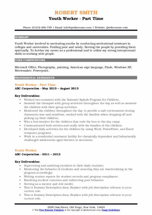 youth worker resume samples qwikresume experience working with pdf home improvement Resume Experience Working With Youth Resume