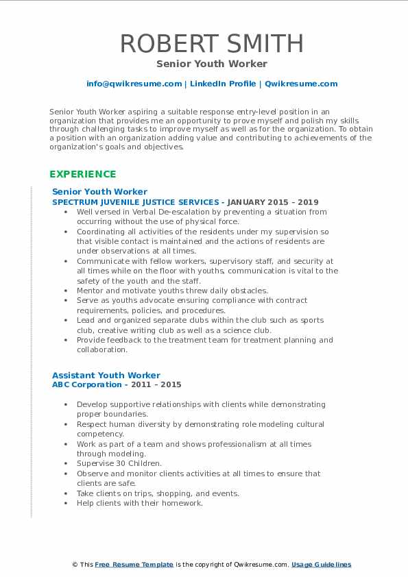 youth worker resume samples qwikresume objective for pdf bloomberg certification on Resume Resume Objective For Youth Worker