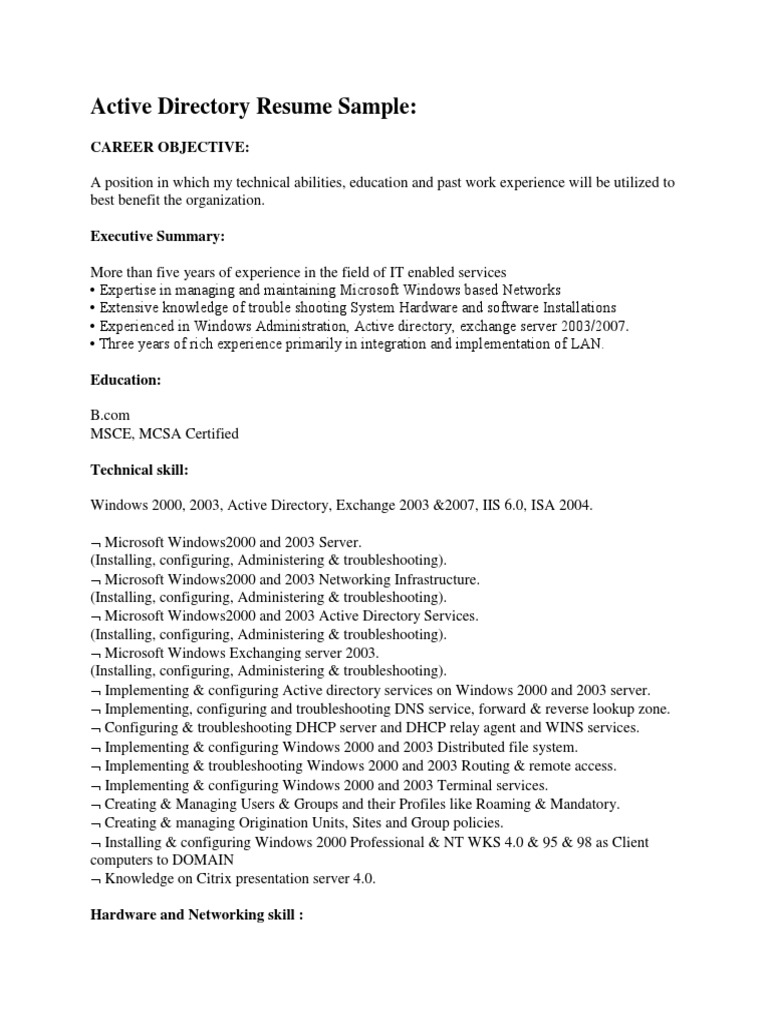 active directory resume sample pdf windows grower examples dog sitter software objective Resume Active Directory Resume Sample