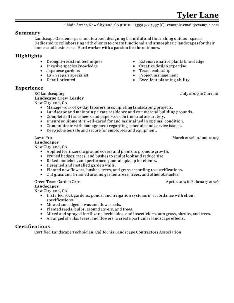 best landscaping resume example livecareer retail examples lawn maintenance sample senior Resume Lawn Maintenance Resume Sample