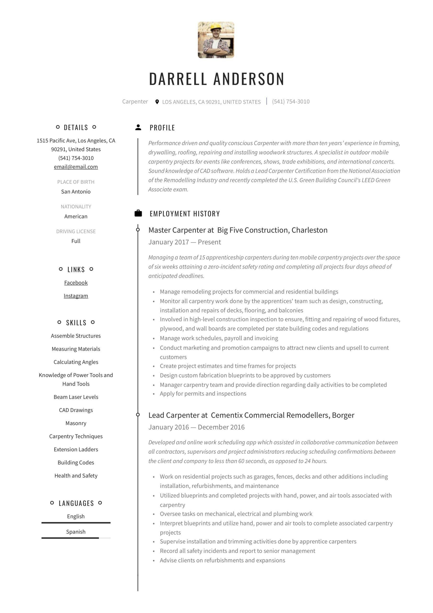 carpenter resume writing guide examples window and installer sample best qualifications Resume Window And Door Installer Resume Sample