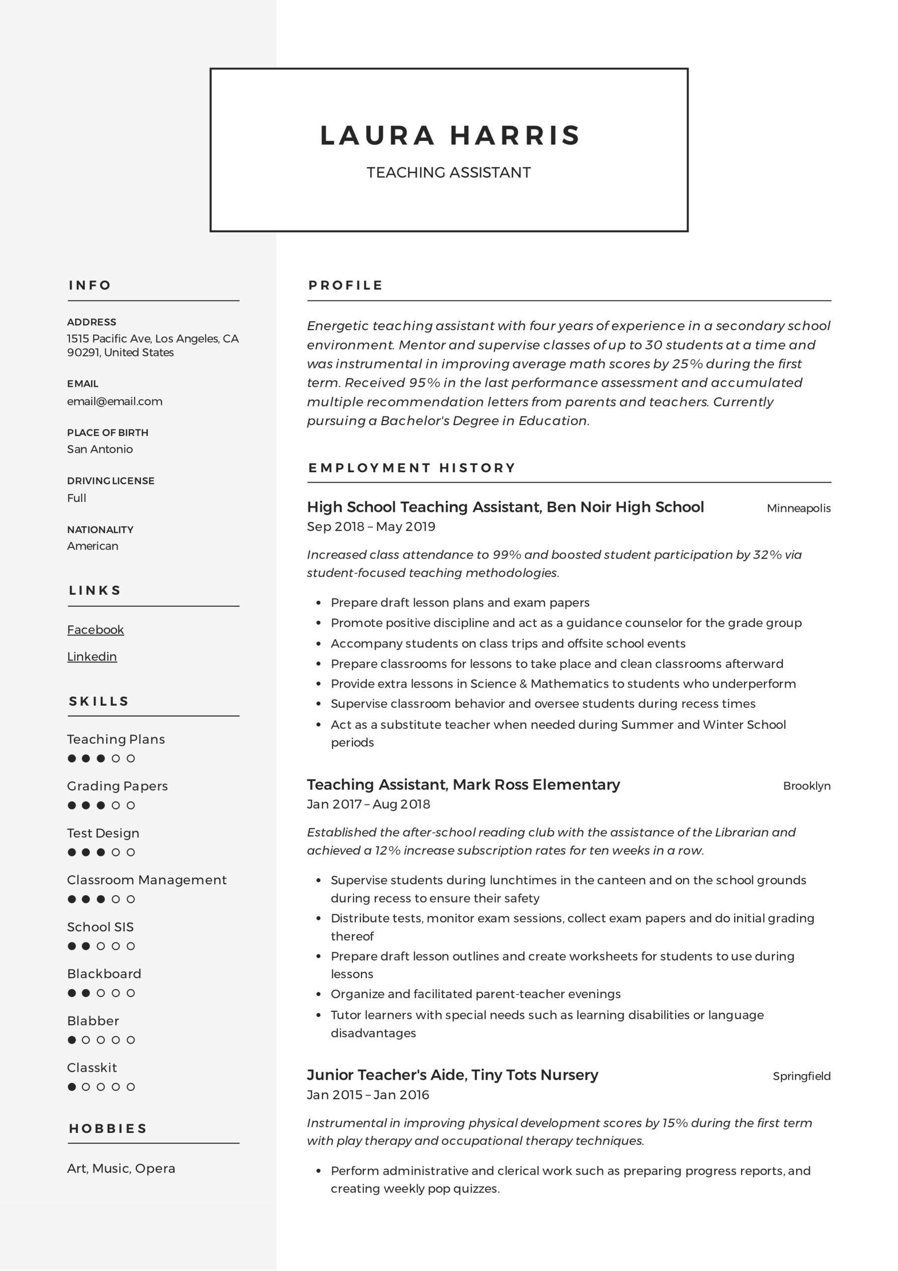 certified teacher assistant resume october instructional aide sample teaching template Resume Instructional Aide Resume Sample