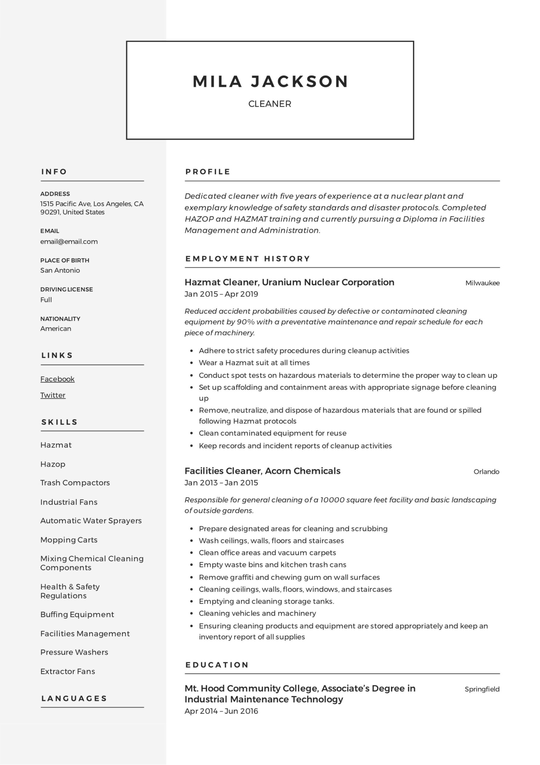 cleaner resume writing guide templates pdf hospital cleaning job sample mila project Resume Hospital Cleaning Job Resume Sample Pdf