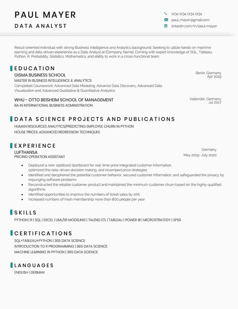 data analyst resume sample and template science scientist jobs 791x1024 entry level Resume Data Scientist Jobs Resume Sample