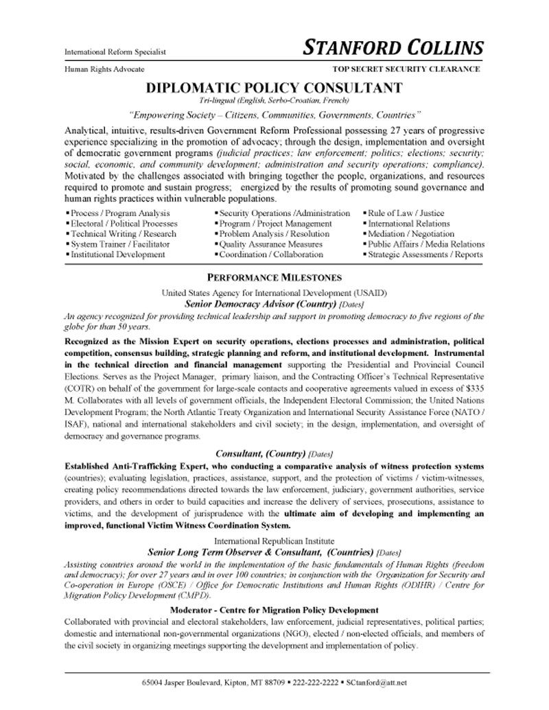 diplomatic policy consultant resume advocate sample summary section of nail good hrbp Resume Policy Advocate Resume Sample