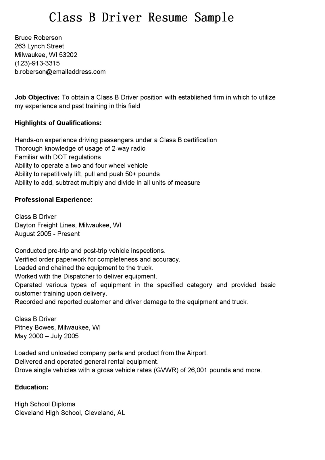 driver resumes resume sample truck duties templates wordpad format for h1b visa Resume Class A Truck Driver Duties Resume Sample
