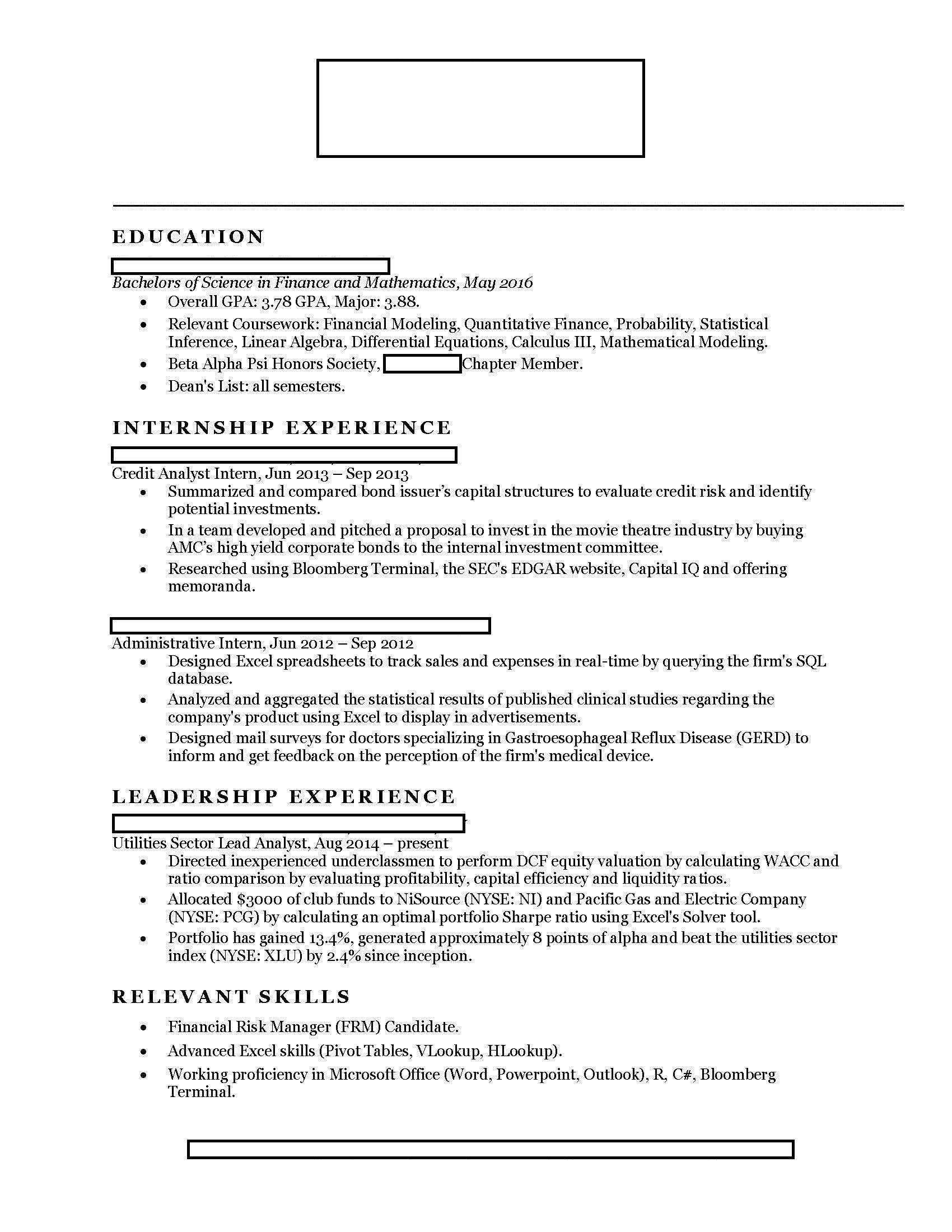 finance looking for internships in investment banking corporate financial services Resume Commercial Banking Resume Sample