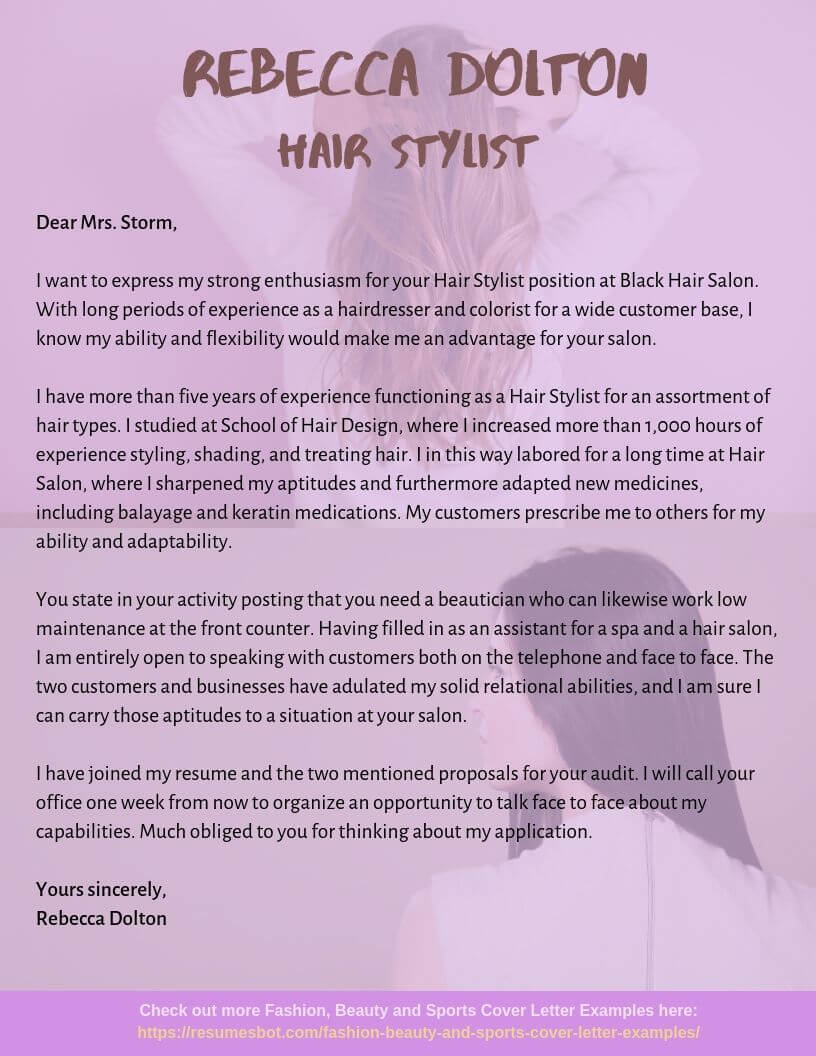 hair stylist cover letter samples templates pdf word letters rb professional resume Resume Professional Hair Stylist Resume Sample