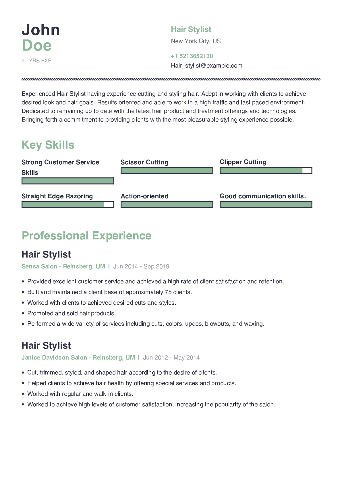 hair stylist resume example with content sample craftmycv professional human services for Resume Professional Hair Stylist Resume Sample