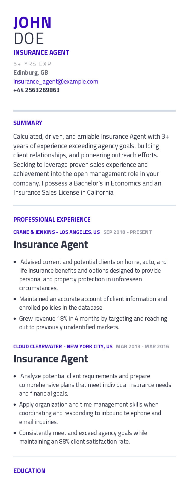insurance agent resume example with content sample craftmycv life ats review lesson for Resume Life Insurance Agent Resume Sample