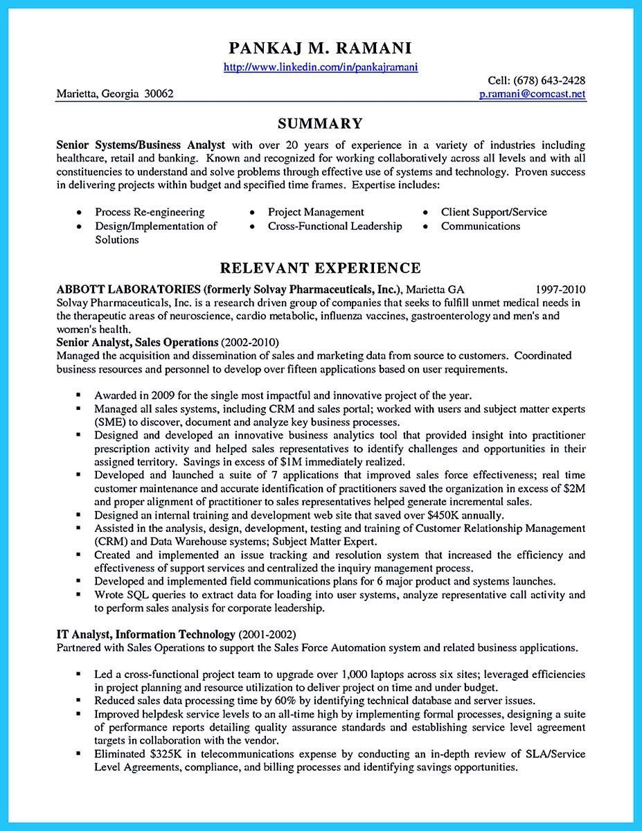it business analyst resume perfect best secrets about creating effective systems of Resume Resume Sample Senior Analyst Sales Operations
